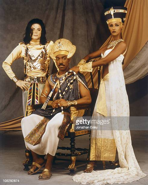 Singer/Songwriter Michael Jackson is photographed on set for the filming of his video Remember the Time with actor Eddie Murphy and model Iman