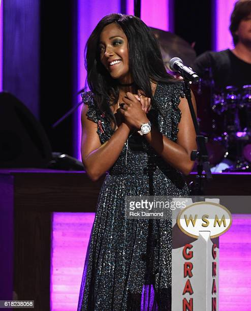 Singer/Songwriter Mickey Guyton performs at Jason Aldean's 11th Annual Event Benefitting Susan G Komen As Part of Opry Goes Pink Jason Aldeans...