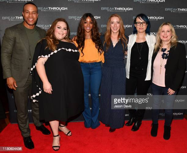Singer/Songwriter Mickey Guyton President Universal Music Group Cindy Mabe Actress Chrissy Metz and Producer DeVon Franklin attend the 'Breakthrough'...