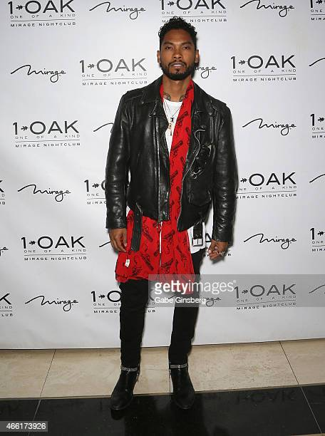 Singer/songwriter Miguel arrives at 1 OAK Nightclub at The Mirage Hotel Casino on March 13 2015 in Las Vegas Nevada
