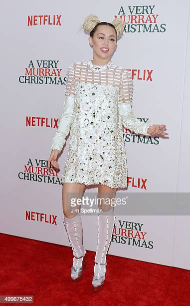 Singer/songwriter Miley Cyrus attends the 'A Very Murray Christmas' New York premiere at Paris Theater on December 2 2015 in New York City