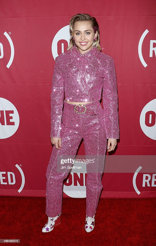 Singer/songwriter Miley Cyrus attends the ONE And (RED)'s 'It Always Seems Impossible Until It Is Done' at Carnegie Hall on December 1, 2015 in New York City.