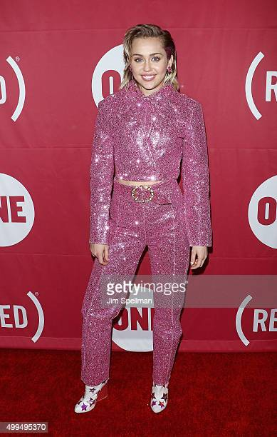 Singer/songwriter Miley Cyrus attends the ONE And 's 'It Always Seems Impossible Until It Is Done' at Carnegie Hall on December 1 2015 in New York...