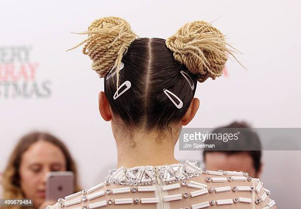 Singer/songwriter Miley Cyrus hair detail attends the 'A Very Murray Christmas' New York premiere at Paris Theater on December 2 2015 in New York City