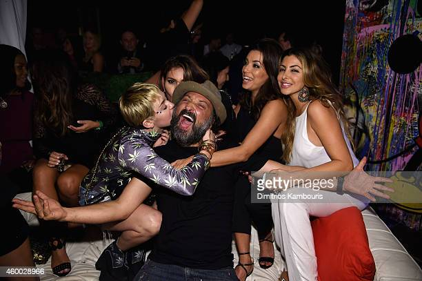 "Singer/songwriter Miley Cyrus Larsa Pippen Mr Brainwash and actress Eva Longoria attend Haute Living presents Hublot ""Time Is Beautiful"" at the..."