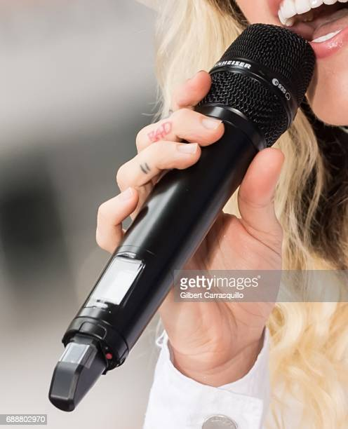 Singersongwriter Miley Cyrus tattoo detail performs on NBC's 'Today' at Rockefeller Plaza on May 26 2017 in New York City