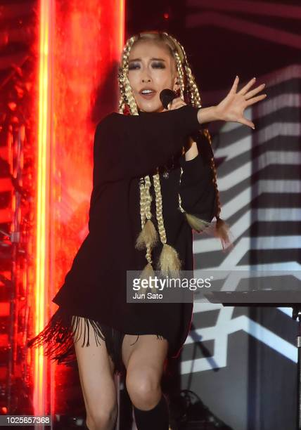 Singer/songwriter Miliyah Kato performs on stage during the RockCorps 2018 at Makuhari Messe on September 1 2018 in Chiba Japan