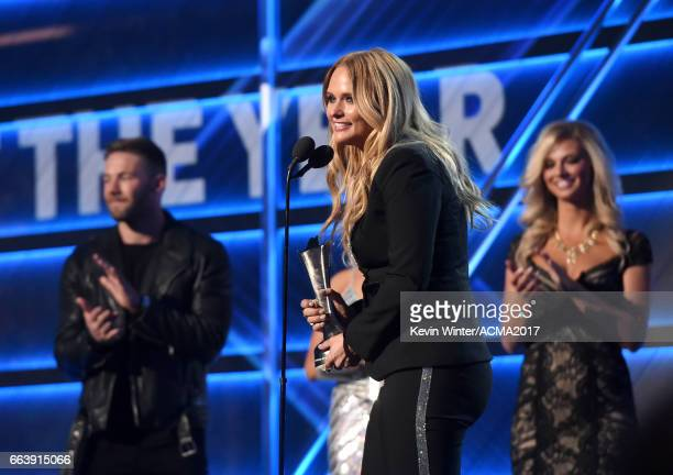 Singer-songwriter Miranda Lambert accepts the Female Vocalist of the Year award onstage during the 52nd Academy of Country Music Awards at T-Mobile...