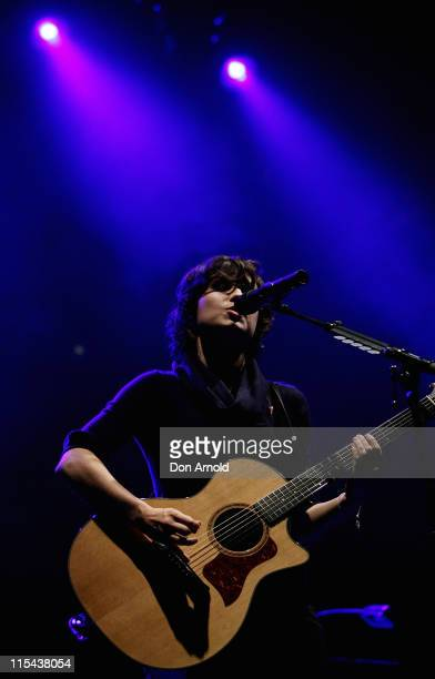 Singersongwriter Missy Higgins performs on stage as part of the Legs 11 concert at the Domain in Sydney's Royal Botanic Gardens October 26 2007 in...
