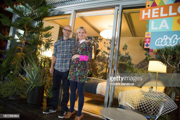 Singersongwriter Moby and designer Emily Henderson attend the Airbnb presents Hello LA with celebrity designed pop ups Moby at The Viper Room on...