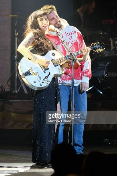 Singersongwriter Mon Laferte and Juanes perform live on stage at the Hulu Theater at Madison Square Garden on April 27 2018 in New York City