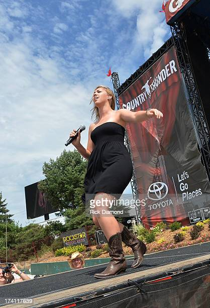 Singer/Songwriter Morgan Frazier performs at Country Thunder Twin Lakes Wisconsin Day 2 on July 19 2013 in Twin Lakes Wisconsin