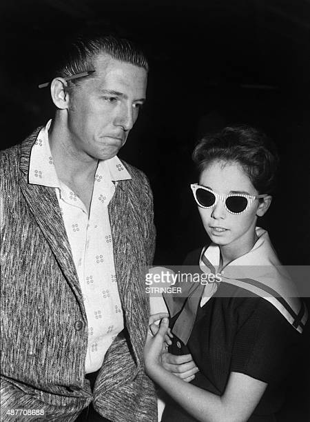 US singersongwriter musician and pianist Jerry Lee Lewis and his 13yearold bride Myra leaveLondon Airport on May 27 1958 after the cancellation of...