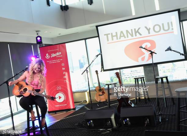 Singer/Songwriter Natalie Stovall performs during Change the Conversation Slacker Radio #WCE Country Launch Party at The Steps at WME on August 7...