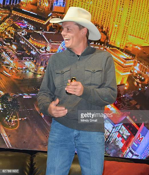 Singer/songwriter Ned LeDoux wins the Golden Boot of the Day Award during the Outside The Barrel with Flint Rasmussen show at Rodeo Live during the...