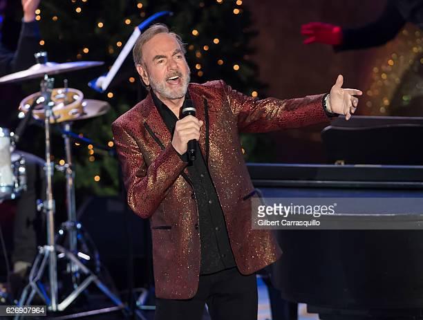 Singersongwriter Neil Diamond performs on stage during the 84th Rockefeller Center Christmas Tree Lighting at Rockefeller Center on November 30 2016...
