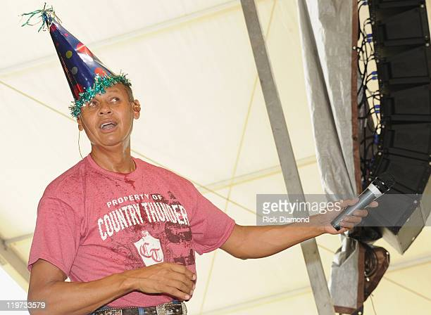 Singer/Songwriter Neil McCoy is wearing his birthday hat while he performs at Country Thunder music festival Day 3 on July 23 2011 in Twin Lakes...