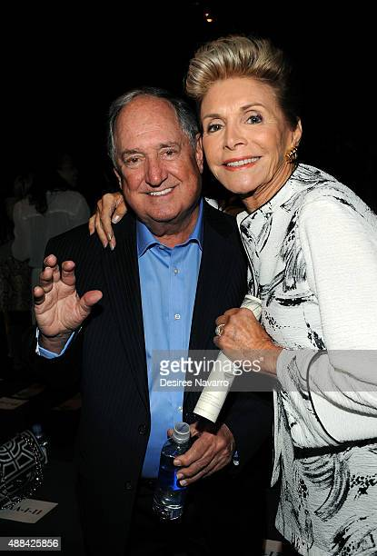 Singer/songwriter Neil Sedaka and Leba Sedaka attend Dennis Basso front row and backstage Spring 2016 during New York Fashion Week: The Shows at The...