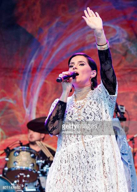 Singersongwriter Nelly Furtado performs on stage during Fusion Festival at Holland Park on July 22 2017 in Surrey Canada