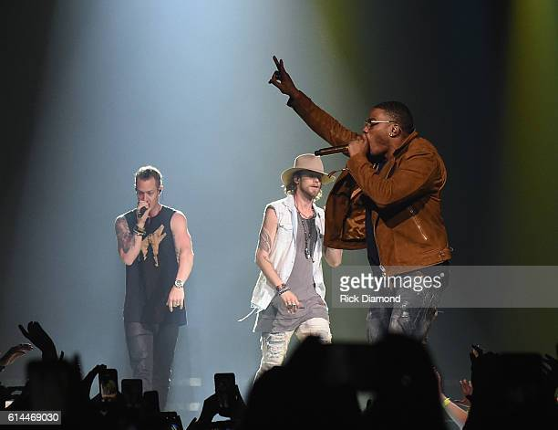 Singer/Songwriter Nelly joins Brian Kelley of Florida Georgia Line at FLG's Dig Your Roots 2016 Tour at Bridgestone Arena on October 13 2016 in...