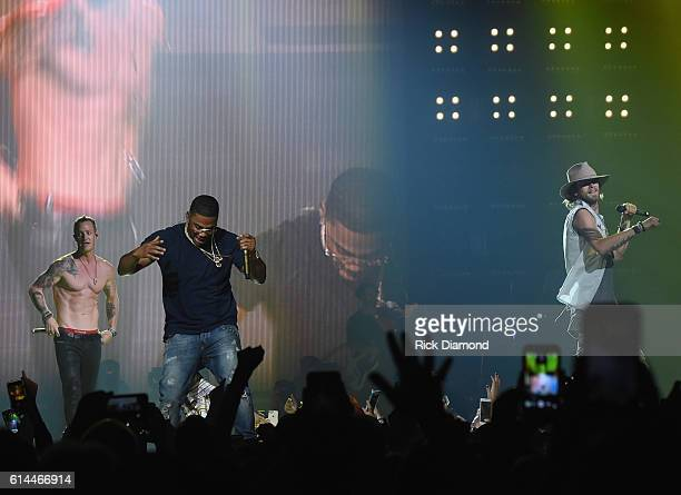 Singer/Songwriter Nelly joins Tyler Hubbard and Brian Kelley of Florida Georgia Line at their Dig Your Roots 2016 Tour at Bridgestone Arena on...