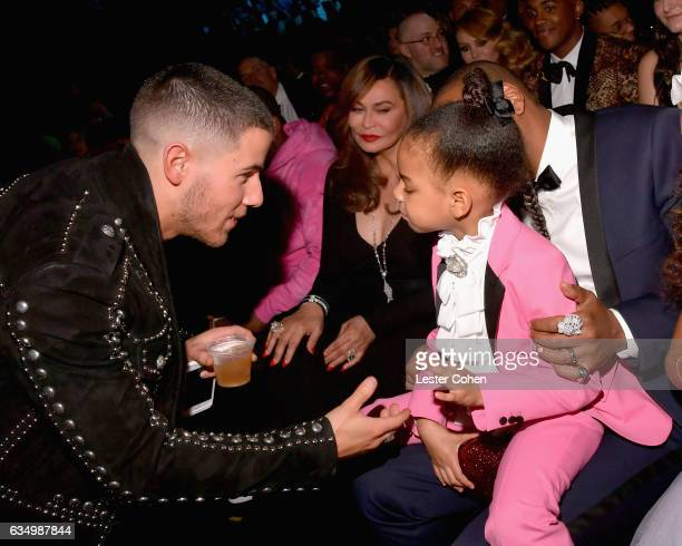 Singersongwriter Nick Jonas and Blue Ivy Carter during The 59th GRAMMY Awards at STAPLES Center on February 12 2017 in Los Angeles California