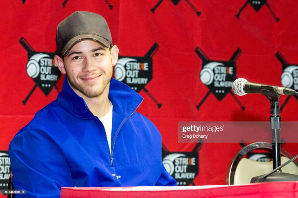 Singer-Songwriter Nick Jonas attends the Strike Out Slavery Press Conference at Angel Stadium on August 9, 2018 in Anaheim, California.