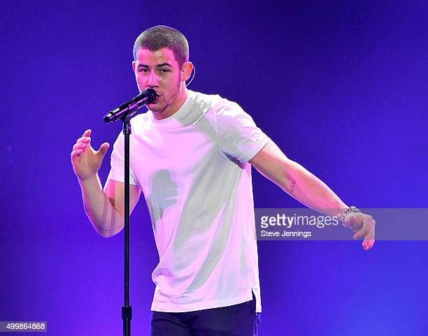 Singer/songwriter Nick Jonas performs onstage during WiLD 949's FM's Jingle Ball 2015 presented by Capital One at ORACLE Arena on December 3 2015 in...