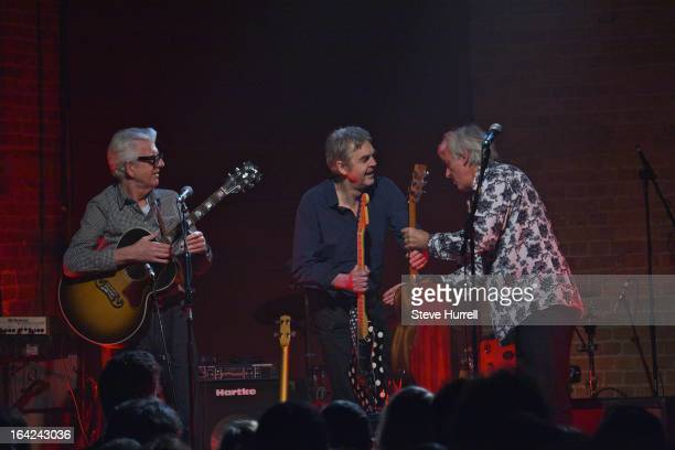 Singer-songwriter Nick Lowe and music writer Mark Ellen perform with Robyn Hitchcock at A 60th Birthday Tribute To Robyn Hitchcock, at Village...