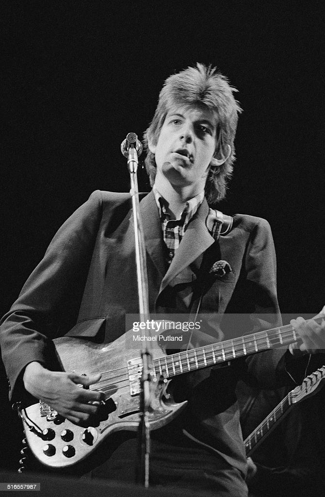 Singer-songwriter Nick Lowe performing with English pub rock band Brinsley Schwarz, April 1974.