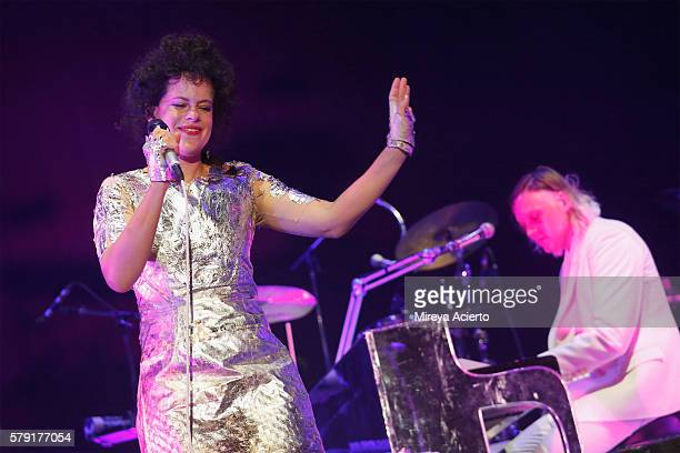 Singer/songwriter of Arcade Fire Regine Chassagne and Win Butler perform during the 2016 Panorama Festival on July 22 2016 in New York City