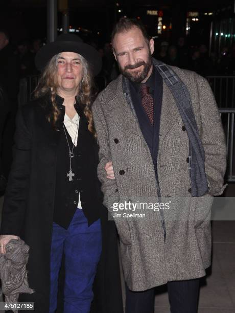 Singer/songwriter Patti Smith and actor Ralph Fiennes attend the 'The Grand Budapest Hotel' New York Premiere at Alice Tully Hall on February 26 2014...