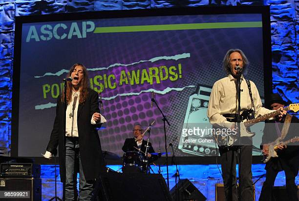 Singer/songwriter Patti Smith Jay Dee Daugherty Lenny Kaye and Tony Shanahan onstage at the 27th Annual ASCAP Pop Music Awards held at the...