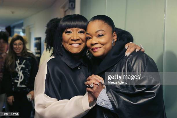 Singer/songwriter Pattie LeBalle and hip hop musician/rapper Roxanne Shante visit SiriusXM Studios on March 20 2018 in New York City
