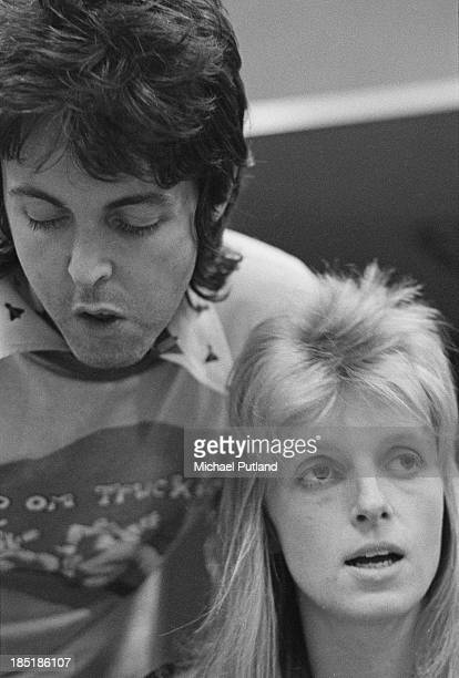 Singersongwriter Paul McCartney and his wife Linda of British rock group Wings in a recording studio 21st November 1973