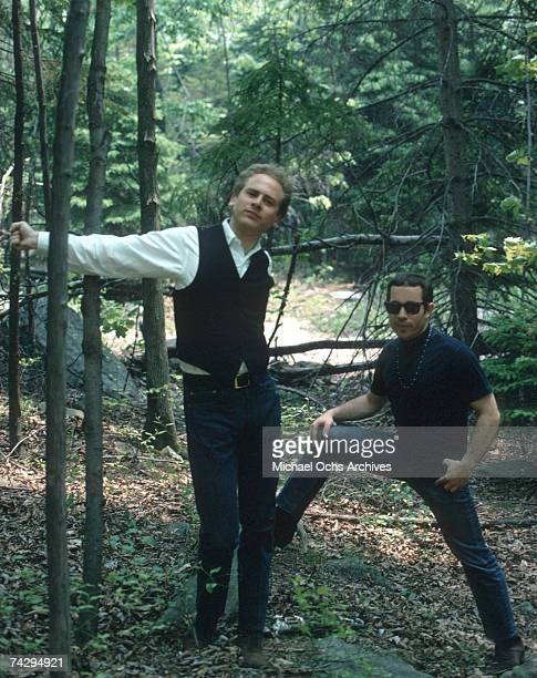 Singer/songwriter Paul Simon and singer Art Garfunkel of the folk rock duo Simon Garfunkel poae for a portrait circa 1968