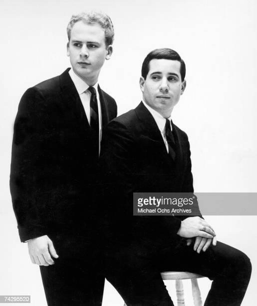 Singer/songwriter Paul Simon and singer Art Garfunkel of the folk rock duo Simon Garfunkel in a Columbia Records publicity still circa 1964 1966 in...