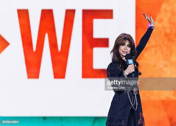Singersongwriter Paula Abdul speaks onstage during 'WE Day Vancouver' at Rogers Arena on November 3 2016 in Vancouver Canada