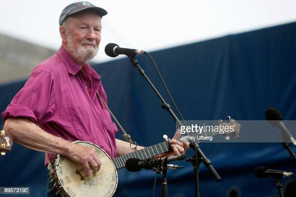 Singer/Songwriter Pete Seeger performs during day 2 of George Wein's Folk Festival 50 at Fort Adams State Park on August 2 2009 in Newport Rhode...