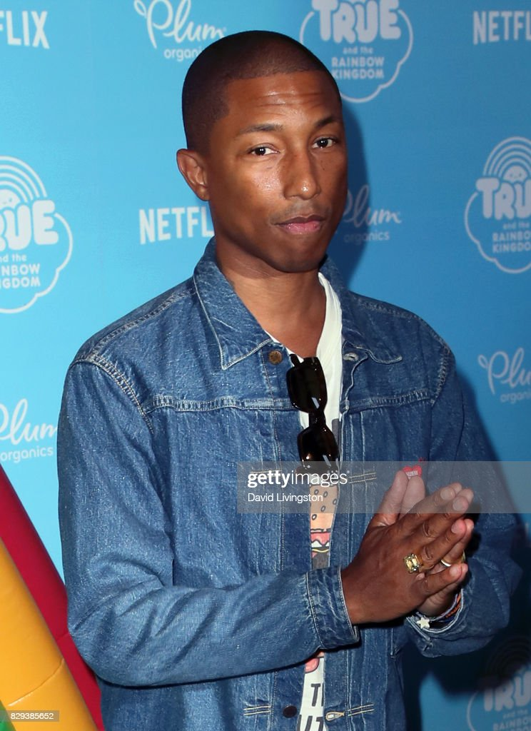 Singer/songwriter Pharrell Williams attends a sneak peek of Netflix's 'True and the Rainbow Kingdom' at Pacific Theatres at The Grove on August 10, 2017 in Los Angeles, California.