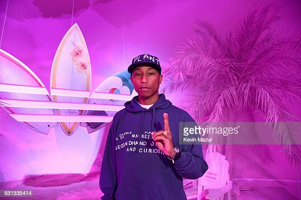 Singersongwriter Pharrell Williams attends adidas Originals Pink Beach Pharrell Williams party on May 13 2016 in West Hollywood California