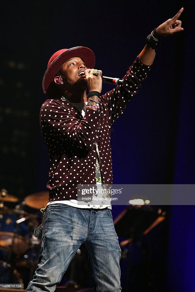 Singer/songwriter Pharrell Williams performs onstage at the 2014 Thelonious Monk International Jazz Trumpet Competition at Dolby Theatre on November 9, 2014 in Hollywood, California.