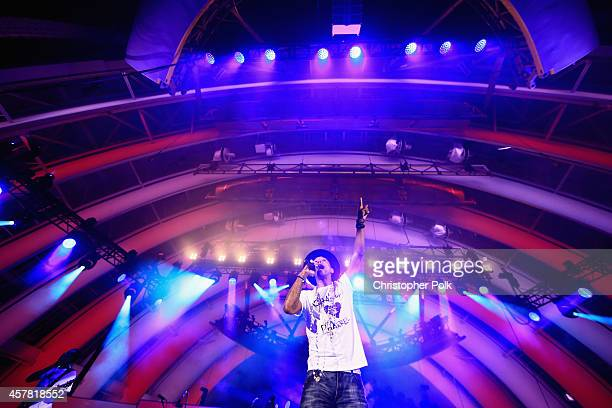 Singer/songwriter Pharrell Williams performs onstage during CBS Radio's We Can Survive at the Hollywood Bowl on October 24 2014 in Los Angeles...
