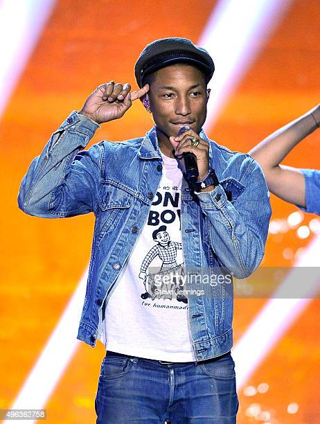 Singer/songwriter Pharrell Williams performs onstage during the 2016 Breakthrough Prize Ceremony on November 8 2015 in Mountain View California