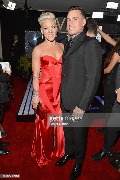 Singer/songwriter Pink and Carey Hart attend the 56th GRAMMY Awards at Staples Center on January 26, 2014 in Los Angeles, California.