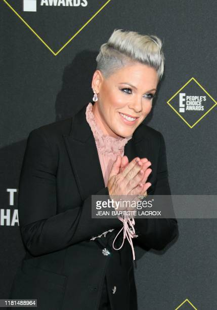 US Singer/songwriter Pink arrives for the 45th annual E People's Choice Awards at Barker Hangar in Santa Monica California on November 10 2019