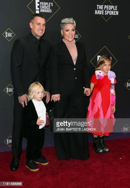 US Singer/songwriter Pink arrives with her husband promotorcycle racer Carey Hart and their children Willow Sage Hart and Jameson Moon Hart for the...