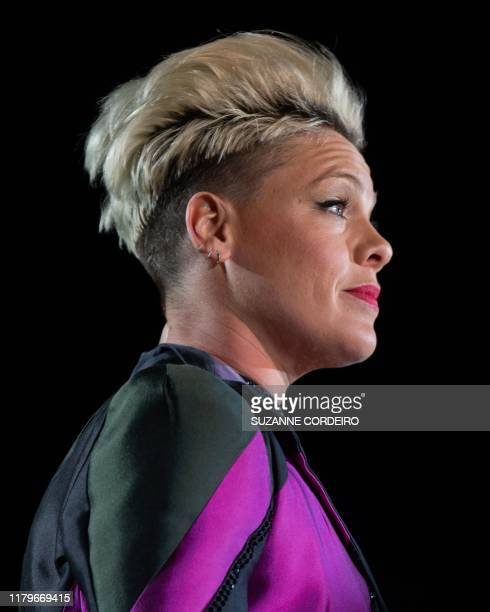 US singer/songwriter Pink performs at the 2019 F1 United States Grand Prix at Circuit of the Americas on November 2 2019 in Austin Texas