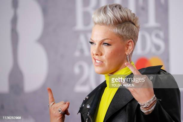 US singersongwriter Pink poses on the red carpet on arrival for the BRIT Awards 2019 in London on February 20 2019 / RESTRICTED TO EDITORIAL USE NO...