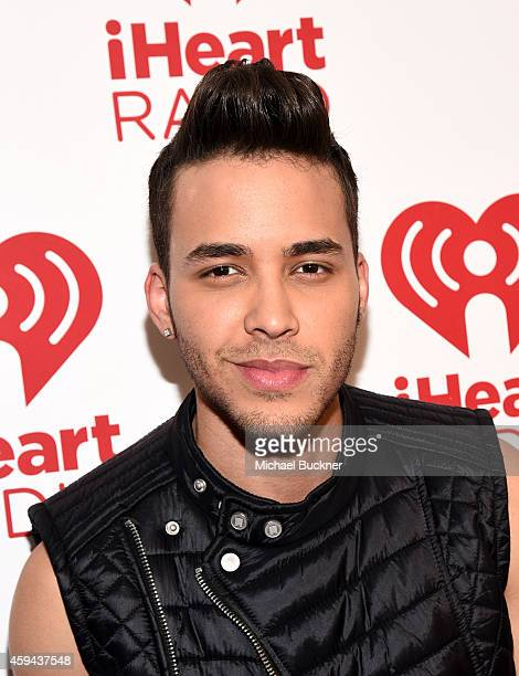 Singersongwriter Prince Royce poses backstage during the iHeartRadio Fiesta Latina festival presented by Sprint at The Forum on November 22 2014 in...